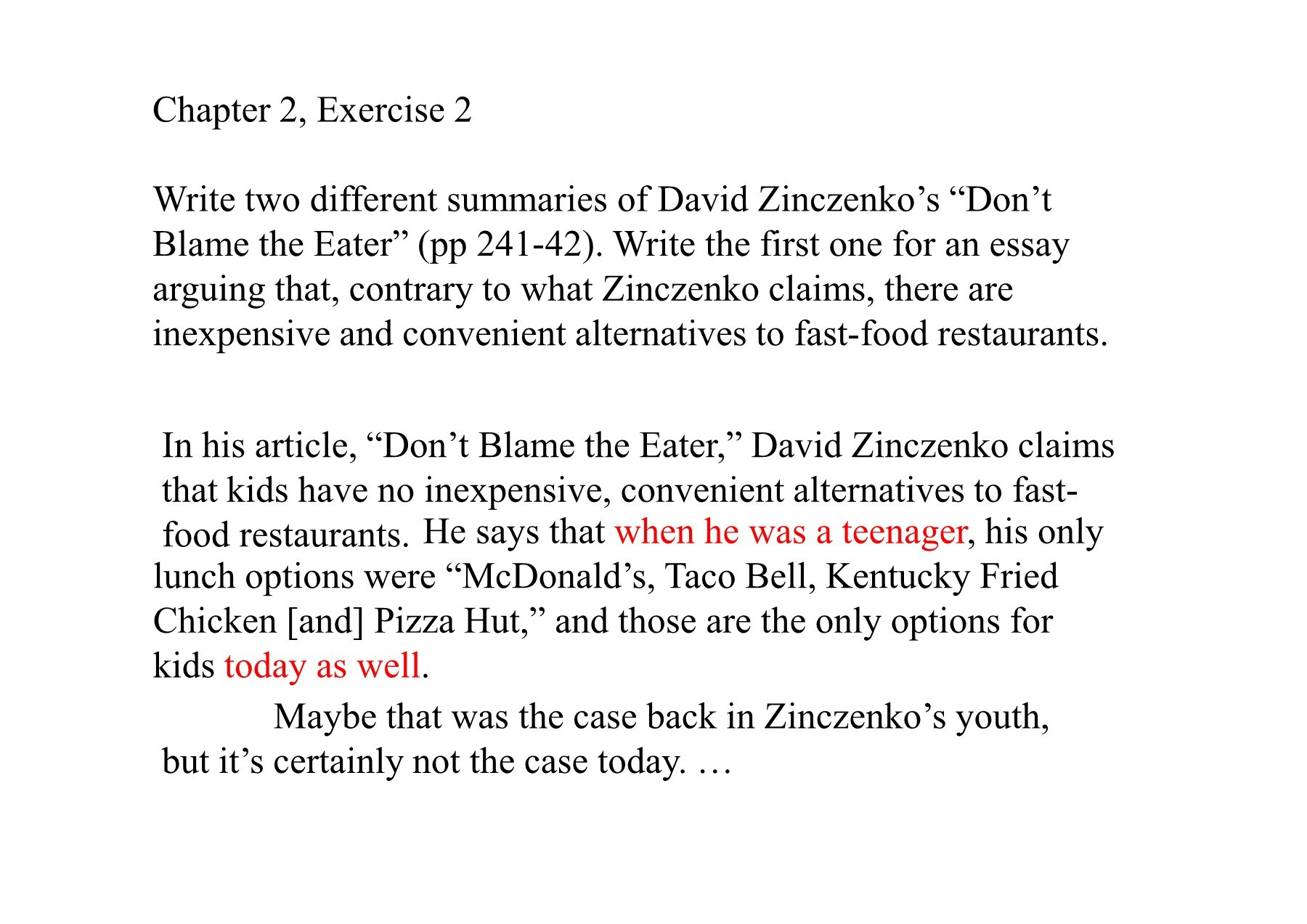 an analysis of the essay dont blame the eater by david zinczenko